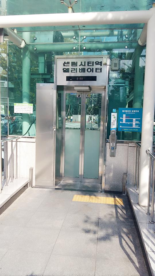 센텀시티역 엘리베이터 모습